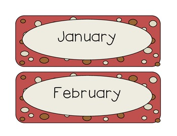 Red Tan Dots Calendar