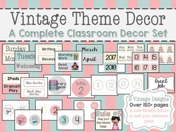 Vintage Theme Inspired Full Classroom Decor Set