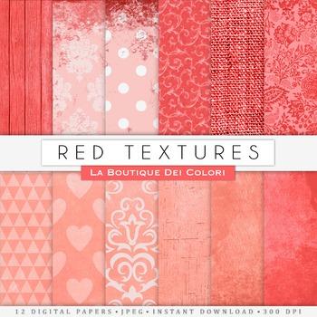 Red Textures Digital Paper, scrapbook backgrounds