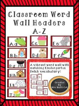 Red Themed Word Wall Header and Dolch Vocabulary