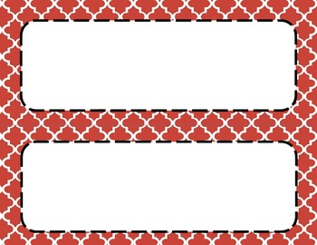 Red Tile Classroom Labels and Tags