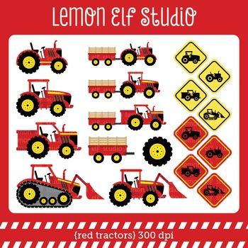 Red Tractors-Digital Clipart (LES.CL56A)