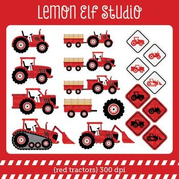 Red Tractors-Digital Clipart (LES.CL56B)