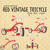 Red Tricycle Clipart, Vintage Preschool Tricycle, Early Education