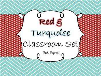 Red & Turquoise Classroom Theme Pack