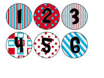 Red & Turquoise Whimsy Library Bin Number Circles