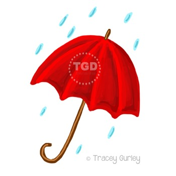 Red Umbrella Clip Art, Rain and Umbrella Printable Tracey Gurley Designs