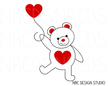 Red Valentine Bear SVG Cutting File - Commercial Use SVG, DXF, EPS, png