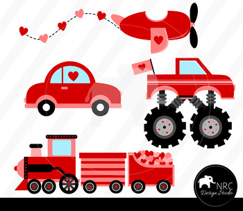 cc7d6f99c6 Red valentine vehicles clipart commercial use by NRCDesignStudio