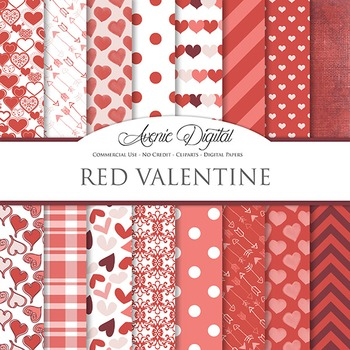 Red Valentine's day Digital Paper scrapbook backgrounds, love, romantic, pattern