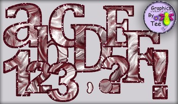 Red Velvet Cake Letters and Numbers Clipart Set 2