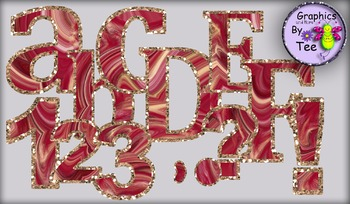 Red Velvet Cake Letters and Numbers Clipart Set 3