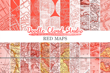 Red Vintage Maps digital paper, Old Maps, Modern Maps, Historical Maps