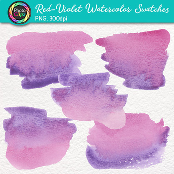 Red-Violet Watercolor Swatches Clip Art: Hand-Painted Textures {Photo Clipz}