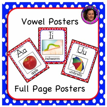 Red Vowel Posters with Real Pictures