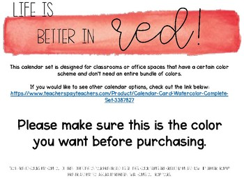 Red Watercolor Calendar Set