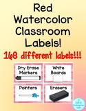 Red Watercolor Classroom Labels
