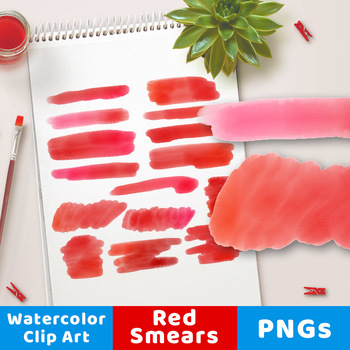 Red Watercolor Clipart- Smears, Watercolor Clipart Red Strokes, PNG