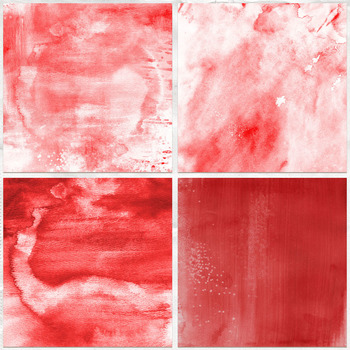 Red Watercolor Digital Background Papers, Christmas