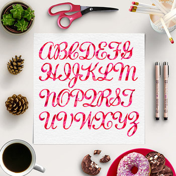 Red Watercolor PNG Font, Alphabet Clipart