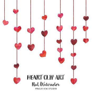 Red Watercolor Heart Clip Art