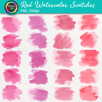 Red Watercolor Swatches Clip Art {Hand-Painted Textures for Backgrounds}