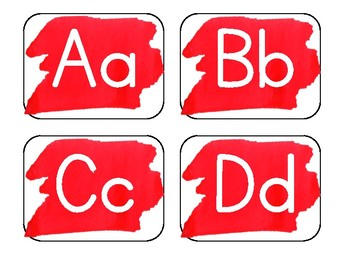 Red Watercolor Word Wall Alphabet