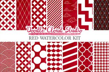 Red Watercolor digital paper, Geometric Diamond Chevron Dots Polkadots Scallops