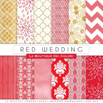 Red Wedding Digital Paper, scrapbook backgrounds