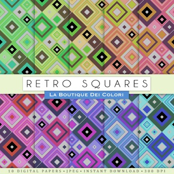 Retro Squares Digital Paper, scrapbook backgrounds