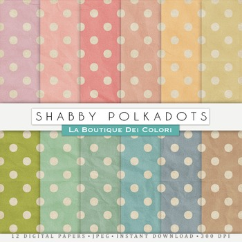 Shabby polkadots Digital Paper, scrapbook backgrounds