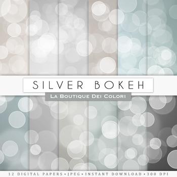 Silver Bokeh Digital Paper, scrapbook backgrounds
