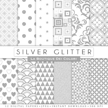 Silver Glitter Digital Paper, scrapbook backgrounds