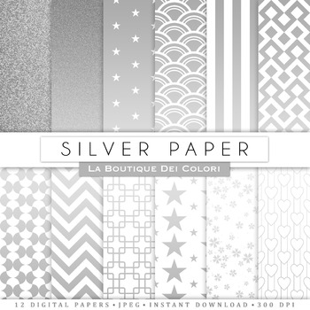Silver Digital Paper, scrapbook backgrounds