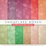 Snowflake Bokeh Digital Paper, scrapbook backgrounds