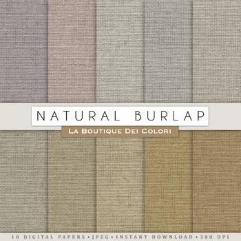 Natural Burlap Fabric Digital Paper, scrapbook backgrounds