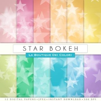 Colorful stars Bokeh Digital Paper, scrapbook backgrounds