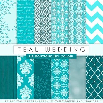 Teal Wedding Digital Paper, scrapbook backgrounds