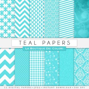 Teal Digital Paper, scrapbook backgrounds