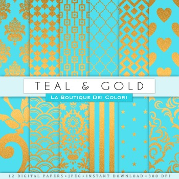 Teal / Turquoise and Gold Digital Paper, scrapbook backgrounds