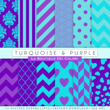 Turquoise and Purple Digital Paper, scrapbook backgrounds