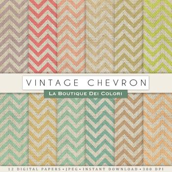 Vintage Chevron Burlap Digital Paper, scrapbook backgrounds