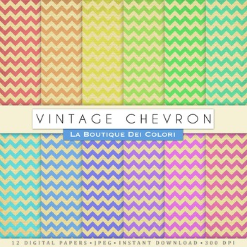 Vintage Chevron Digital Paper, scrapbook backgrounds