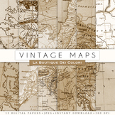 Vintage Map Digital Paper, scrapbook backgrounds
