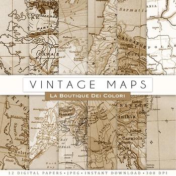 Vintage Map Digital Paper, scrapbook backgrounds