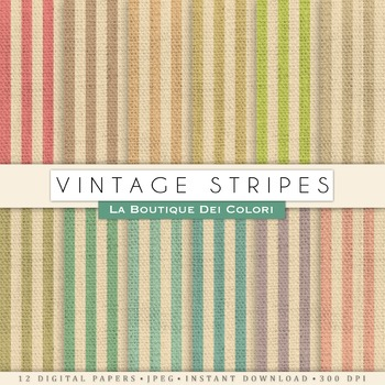Vintage Vertical Stripes Burlap Digital Paper, scrapbook b