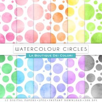 Watercolor Circles Digital Paper, Scrapbook Backgrounds