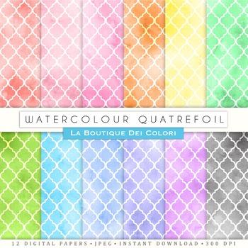 Watercolor Quatrefoil Digital Paper, scrapbook backgrounds
