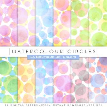 Bokeh Watercolor circles Digital Paper, scrapbook backgrounds