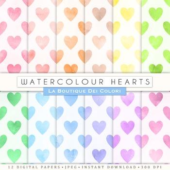 Watercolor heatrs Digital Paper, scrapbook backgrounds